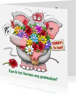 Sorry kaarten - Leuke olifant met grote bos bloemen om het goed te maken