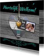 Jubileumkaarten - Leuke uitnodiging HARTelijk welkom op steigerhout