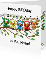 Verjaardagskaarten - Leuke verjaardag Happy BIRDday vogels op tak