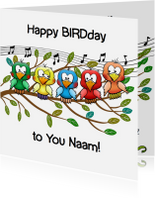Verjaardagskaarten - Leuke verjaardag Happy BIRDday vrolijke vogels op tak
