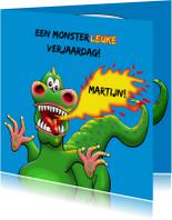 Verjaardagskaarten - Leuke verjaardagskaart met beetje eng monster voor kind