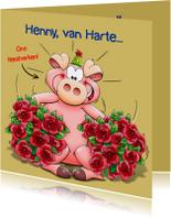 Verjaardagskaarten - Leuke verjaardagskaart met grappig feestvarken en rozen