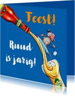 Verjaardagskaarten - Leuke verjaardagskaart met muis, flesje en glas bier