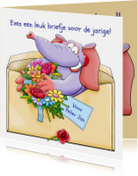 Verjaardagskaarten - Leuke verjaardagskaart olifant in brief met bloemen