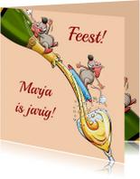 Leuke verjaardagskaart voor vrouw met muizen en champagne