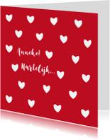 Verjaardagskaarten - Leuke verjaardagskaart witte hartjes op rode achtergrond