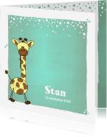 Geboortekaartjes - Lief en stoer blauw groen geboortekaartje girafje