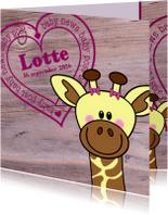 Geboortekaartjes - Lief geboortekaartje Giraffe MEISJE