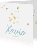 Geboortekaartjes - Lief geboortekaartje jongen hartjes goud
