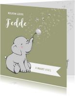 Geboortekaartjes - Lief geboortekaartje jongen met olifantje en sterren