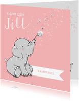 Geboortekaartjes - Lief geboortekaartje meisje met olifantje en wensbloem