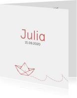 Geboortekaartjes - Lief geboortekaartje met een papieren bootje