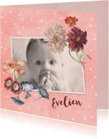 Geboortekaartjes - Lief geboortekaartje met foto en vintage bloemen