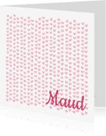 Geboortekaartjes - Lief geboortekaartje roze hartje