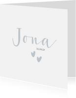 Geboortekaartjes - Lief geboortekaartje voor een jongen met blauwe hartjes