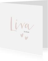 Geboortekaartjes - Lief geboortekaartje voor een meisje met oud roze hartjes.