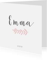 Geboortekaartjes - Lief geboortekaartje voor een meisje met roze takje