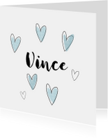 Geboortekaartjes - Lief geboortekaartjes met watercolor hartjes