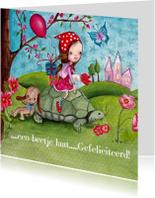 Verjaardagskaarten - Lief Meisje Schildpad Cartita Design