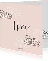 Geboortekaartjes - Lief zalmkleurig geboortekaartje met wolkjes
