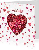 Liefde kaarten - Liefde gekleurde hartjes