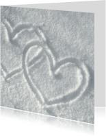 Liefde kaarten - Liefde Hartjes in de sneeuw