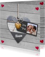 Liefde kaarten - Liefde kaart hart op hout