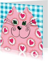 Liefde kaarten - Liefde kaart hartjes kat