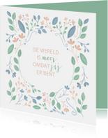 Liefde kaarten - Liefde kaart met geïllustreerde bloemen