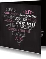 Valentijnskaarten - Liefdekaart hart krijtbord