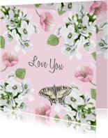 Liefde kaarten - Liefdeskaart Romantische bloemen