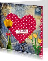 Vriendschap kaarten - Liefs hart en tulpen