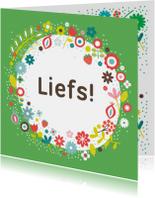 Zomaar kaarten - Liefs met groene bloemen