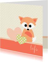 Liefde kaarten - Liefs vosje en harten