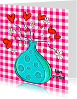 Vriendschap kaarten - Lieve groetjes ruitjes hartjes