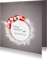 Kerstkaarten - Lieve kerstkaart beter jaar uil