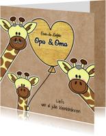 Opa & Omadag kaarten - Lieve Opa en Oma giraffe hart