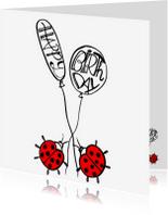 Verjaardagskaarten - Lieveheersbeestje Happy B-day