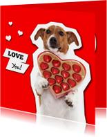 Love you! Hondje met hartjes bonbons