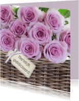Verjaardagskaarten - Mand met roze rozen