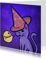 Halloween kaarten - Mauw - kat uitnodiging