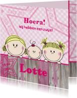 Geboortekaartjes - Meisje 2 meisjes met baby zusje