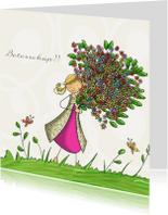 Beterschapskaarten - Meisje bos bloemen vlinders