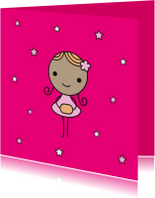 Kinderkaarten - Meisje roze