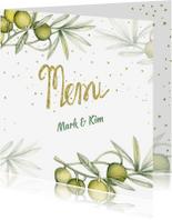 Menukaarten - Menu trouwen olijf