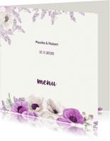 Menukaarten - Menukaart aubergine anemonen