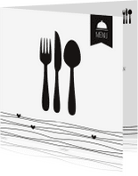 Menukaarten - Menukaart bestek Black&White