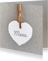 Menukaarten - Menukaart hart grijs karton