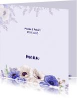 Menukaarten - Menukaart paarse anemonen