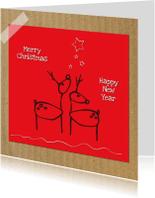 Kerstkaarten - Merry Christmas hertjes